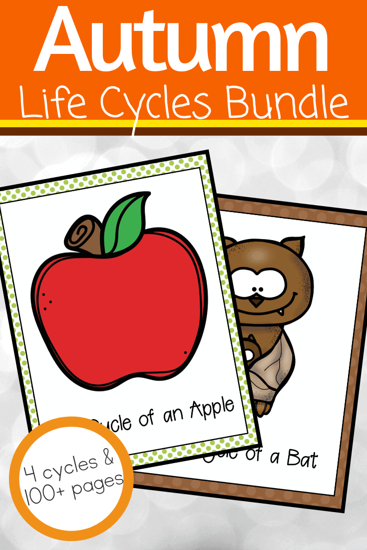 During the autumn months, use this awesome collection of autumn life cycle worksheets to teach your preschoolers about apples, pumpkins, spiders, and bats!
