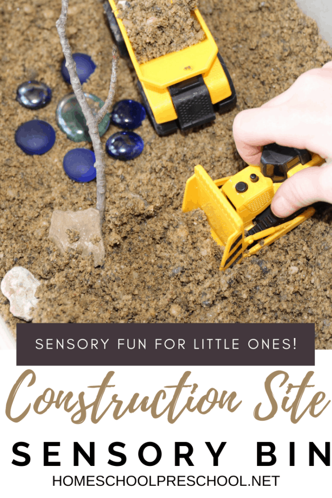 Your little ones will love this fun construction site sensory bin! It's super easy to set up, and it is sure to inspire hours of imaginative play.