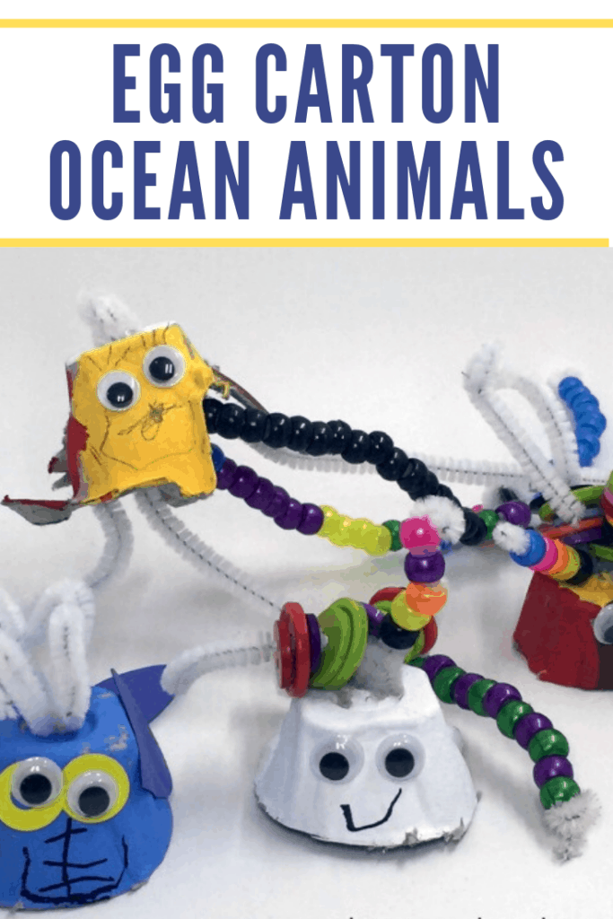 These egg carton ocean animals crafts are perfect for summertime! Decorate recycled egg cartons and turn them into cute sea creatures.