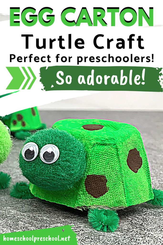 It's so much fun to turn an ordinary egg carton into an adorable work of art. Your preschoolers will love making this egg carton turtle craft!