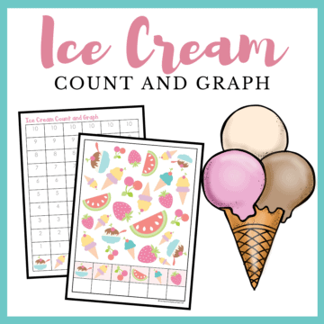 This ice cream count and graph activity pack is a great way for preschoolers to practice counting and graphing skills this summer!