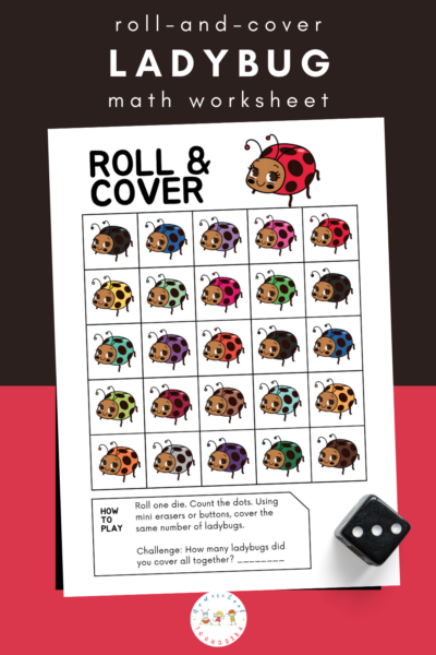 Preschoolers will practice subitizing and counting to 25 with this print-and-go ladybug math game. Roll the dice, count the dots, and cover the ladybugs!