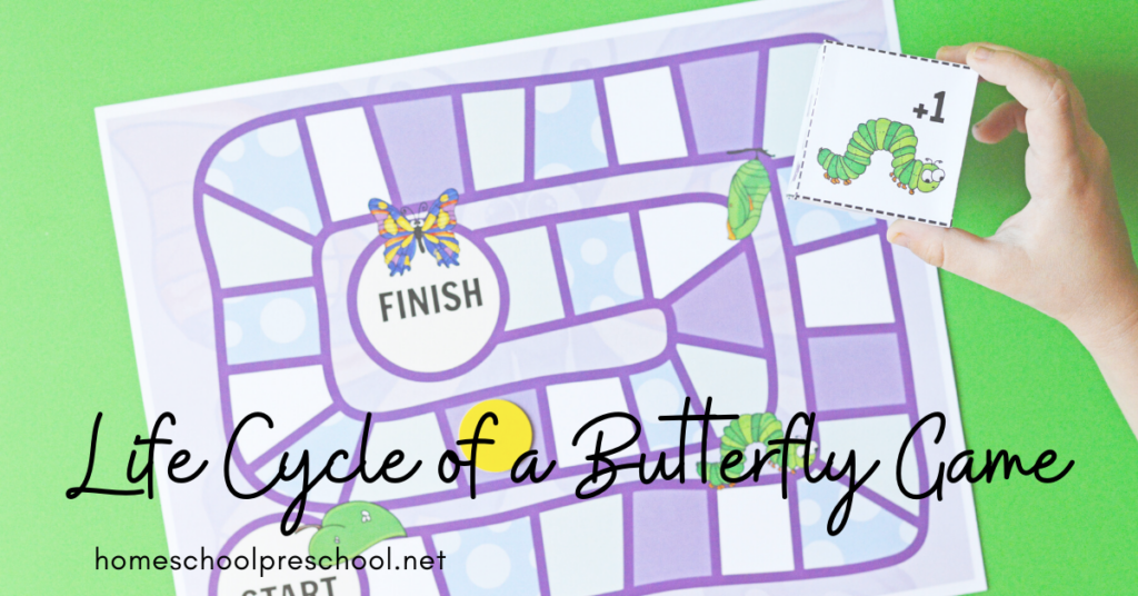 Add this butterfly life cycle printable game to your spring and summer preschool lessons. It's a fun way to practice adding on and taking away.