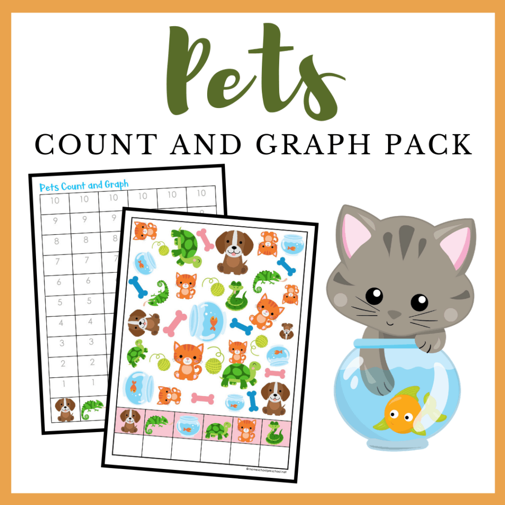 This pets count and graph activity pack is a great way for preschoolers to practice counting and graphing skills all year long!