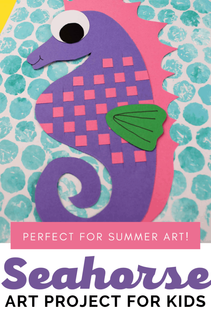 Inspired by the ocean and perfect for summer! Kids can make this adorable seahorse art project with colored paper and bubble wrap.