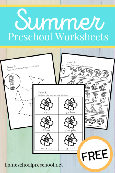 Don't miss this fun summer printable for preschoolers! It contains activities that focus on math, literacy, and fine motor skills.