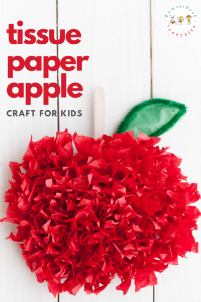 This tissue paper apple craft is perfect for back to school! Little ones will love displaying this paper craft in the fall.