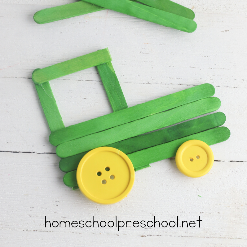 Don't miss this adorable popsicle stick tractor craft for preschool kiddos! Add it to your farm or transportation themes for a fun craft activity.