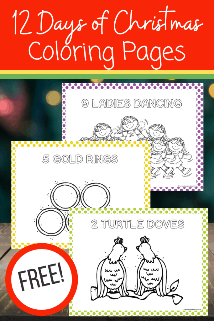 Free 12 Days Of Christmas Coloring Pages For Preschoolers