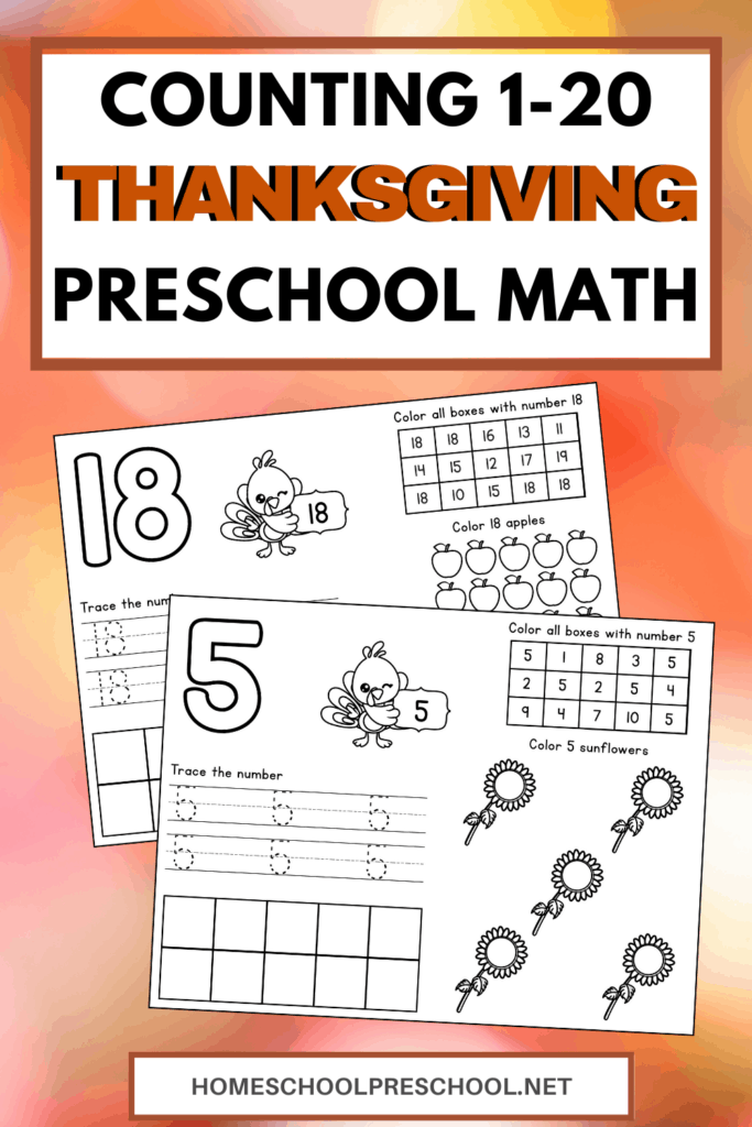 Free Printable Thanksgiving Math Pages Counting 1-20