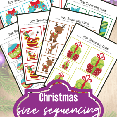 Christmas Size Sequencing Cards for Preschool
