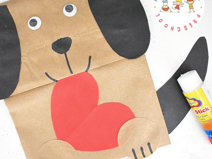 Paper Bag Dog Valentine Craft