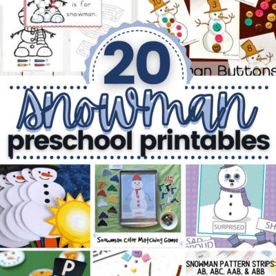 Snowman Printables for Preschoolers