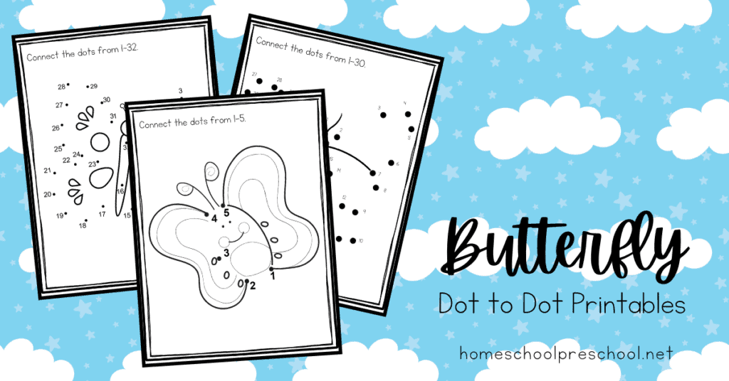 Printable Butterfly Dot To Dot Worksheets For Preschoolers