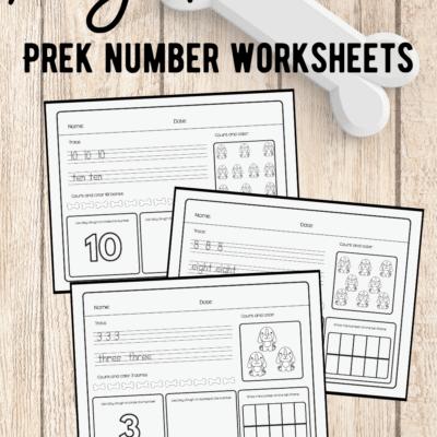 Dog Preschool Number Worksheets