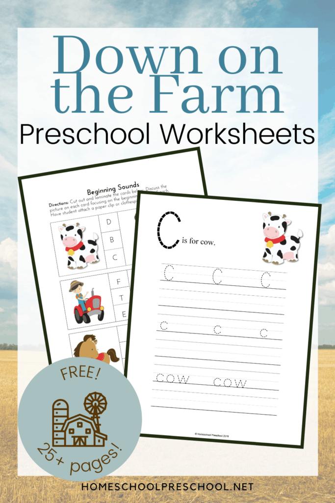 Printable Down On The Farm Activities For Preschool